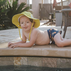 "Kid's Euro Swim Shorties - ""Pineapple Dreams""-SwimZip UPF 50+ Sun Protective Swimwear & UV Zipper Rash Guards-pos3"
