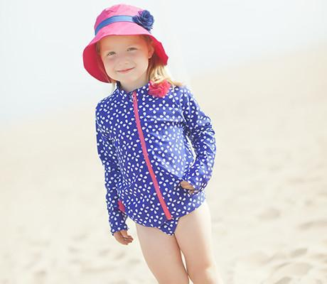 little girl sun protective swimsuit by swimzip