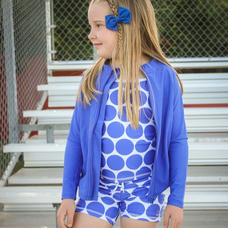 "Girl Long Sleeve Rash Guard Shorts Set - 3 Piece | ""Oversized Dot""-SwimZip UPF 50+ Sun Protective Swimwear & UV Zipper Rash Guards-pos4"