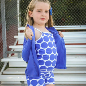 "Girl Long Sleeve Rash Guard Shorts Set - 3 Piece | ""Oversized Dot""-SwimZip UPF 50+ Sun Protective Swimwear & UV Zipper Rash Guards-pos5"