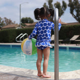 "Little Girl Long Sleeve Rash Guard Swimsuit Set (2 Piece) | ""Oversized Dot""-SwimZip UPF 50+ Sun Protective Swimwear & UV Zipper Rash Guards-pos4"