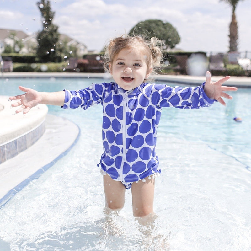 "Little Girl Long Sleeve Rash Guard Swimsuit Set (2 Piece) | ""Oversized Dot""-SwimZip UPF 50+ Sun Protective Swimwear & UV Zipper Rash Guards-pos6"