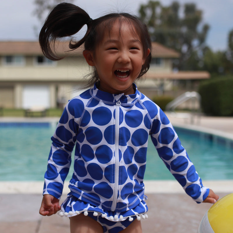 "Little Girl Long Sleeve Rash Guard Swimsuit Set (2 Piece) | ""Oversized Dot""-SwimZip UPF 50+ Sun Protective Swimwear & UV Zipper Rash Guards-pos2"