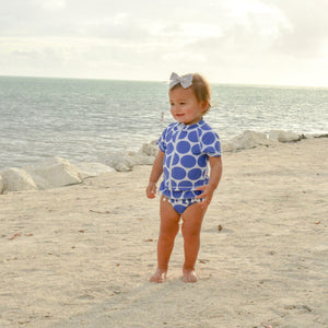 "Girl Short Sleeve Rash Guard Swimsuit Set (2 Piece) UPF 50+ | ""Oversized Dot"" - SwimZip Sun Protection Swimwear"