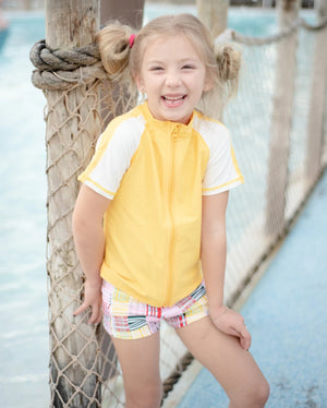 Kid's Short Sleeve Rash + Euro Shorties Rash Guard Set - Madras Mania - SwimZip Sun Protection Swimwear