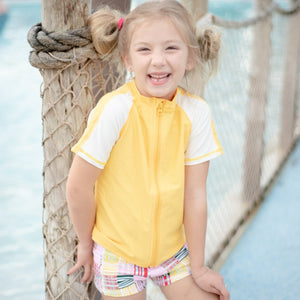 "Kid's Euro Swim Shorties - ""Madras Mania""-SwimZip UPF 50+ Sun Protective Swimwear & UV Zipper Rash Guards-pos6"