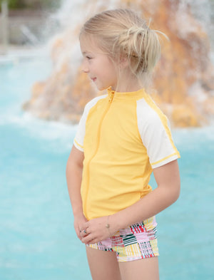 Kid's Short Sleeve Rash + Euro Shorties Rash Guard Set - Madras Mania-SwimZip UPF 50+ Sun Protective Swimwear & UV Zipper Rash Guards-pos5