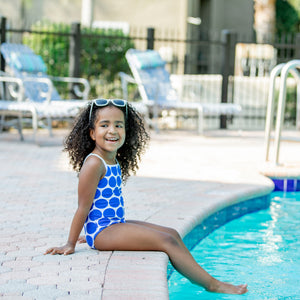 "Girls' One-Piece Swimsuit & Long Sleeve Rash Guard Set - ""Oversized Dot"" - SwimZip Sun Protection Swimwear"