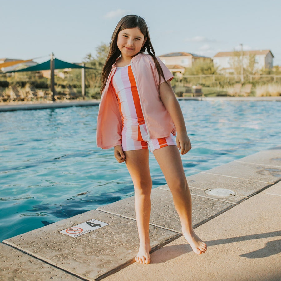 Girl's Short Sleeve Rash Guard Shorts Set Tankini Top (3 Piece) - Peachy Stripes-SwimZip UPF 50+ Sun Protective Swimwear & UV Zipper Rash Guards-pos2