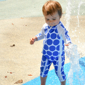 "Sunsuit - Girl Long Sleeve Romper Swimsuit with UPF 50+ UV Sun Protection | ""Oversized Dot"" - SwimZip Sun Protection Swimwear"