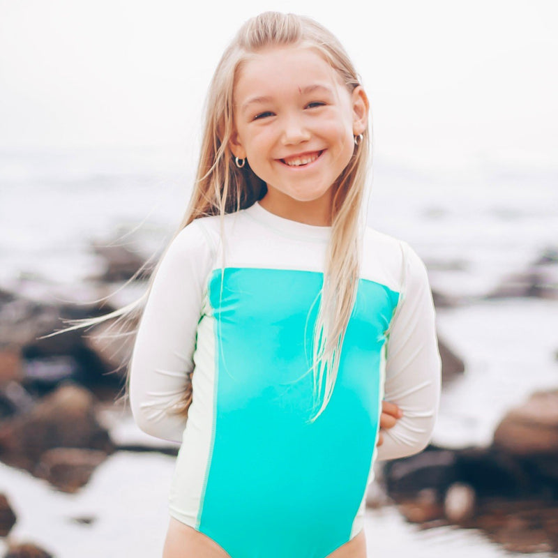 Girl's Long Sleeve Surf Suit (1 Piece) - Multiple Colors-SwimZip UPF 50+ Sun Protective Swimwear & UV Zipper Rash Guards-pos16