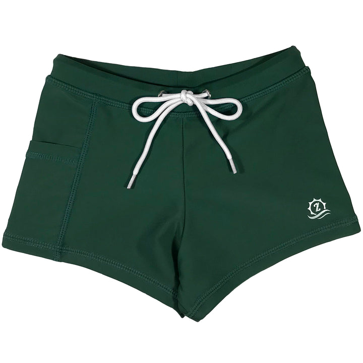 Kid's Euro Swim Shorties - Hunter Green