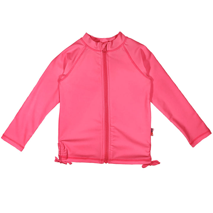 Girl's Long Sleeve Rash Guard - Hot Pink - SwimZip Sun Protection Swimwear