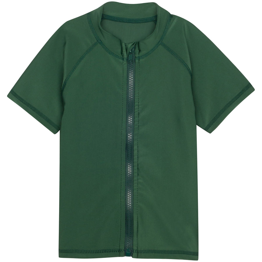 Kid's Short Sleeve Rash Guard Swim Shirt - Hunter Green - SwimZip Sun Protection Swimwear