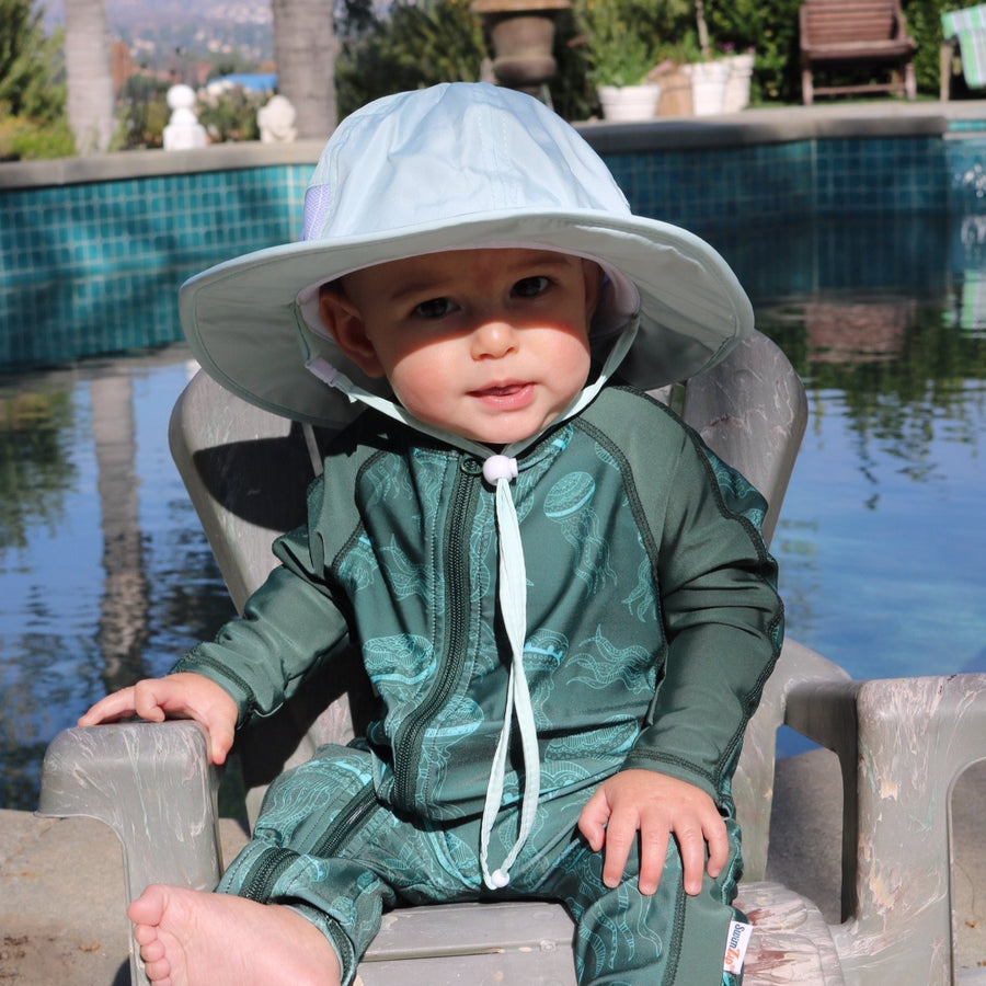 "Kid's Wide Brim Sun Hat ""Fun Sun Day Play Hat"" - Aqua - SwimZip Sun Protection Swimwear"
