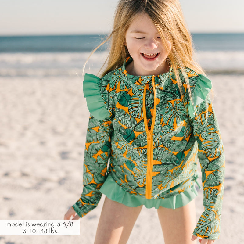 "Girl's Long Sleeve Rash Guard Ruffle Swimsuit Set (2 Piece) | ""The Tropics""-SwimZip UPF 50+ Sun Protective Swimwear & UV Zipper Rash Guards-pos2"