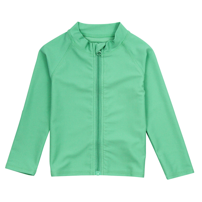 "Kid's Long Sleeve Rash Guard Swim Shirt | ""Light Jade""-0-3-SwimZip UPF 50+ Sun Protective Swimwear & UV Zipper Rash Guards-pos1"