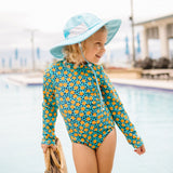 "Girl's Long Sleeve Surf Suit (1 Piece) | ""Geo Party""-SwimZip UPF 50+ Sun Protective Swimwear & UV Zipper Rash Guards-pos5"