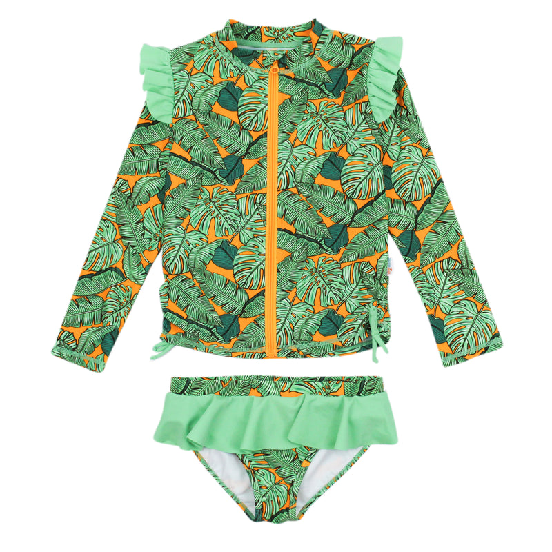 "Girl's Long Sleeve Rash Guard Ruffle Swimsuit Set (2 Piece) | ""The Tropics""-0-3-SwimZip UPF 50+ Sun Protective Swimwear & UV Zipper Rash Guards-pos1"