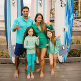"Kid's Long Sleeve Rash Guard Swim Shirt | ""Light Jade""-SwimZip UPF 50+ Sun Protective Swimwear & UV Zipper Rash Guards-pos16"