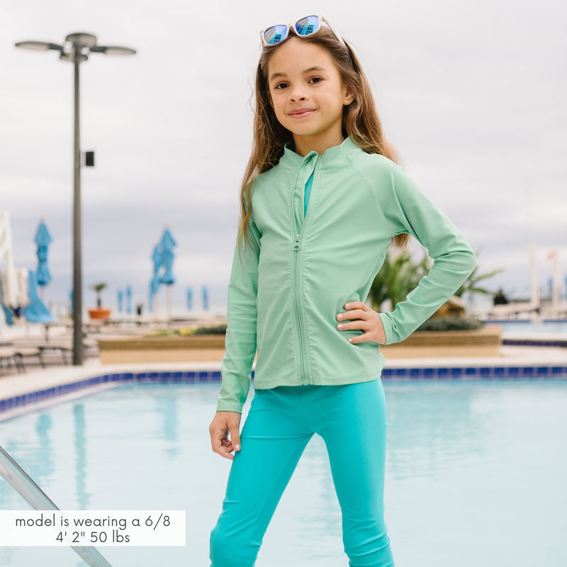 "Kid's Long Sleeve Rash Guard Swim Shirt | ""Light Jade""-SwimZip UPF 50+ Sun Protective Swimwear & UV Zipper Rash Guards-pos13"