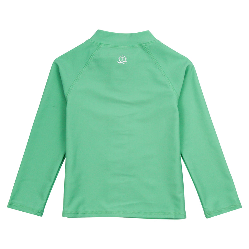"Kid's Long Sleeve Rash Guard Swim Shirt | ""Light Jade""-SwimZip UPF 50+ Sun Protective Swimwear & UV Zipper Rash Guards-pos6"