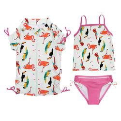 "Girl's Short Sleeve Rash Guard with Tankini + Bikini Bottoms Set (3 Piece) | ""Tropical Birds"""