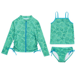 "Girl Zipper Long Sleeve Rash Guard Swimsuit Set UPF 50+ with Tankini | ""Seashell"""