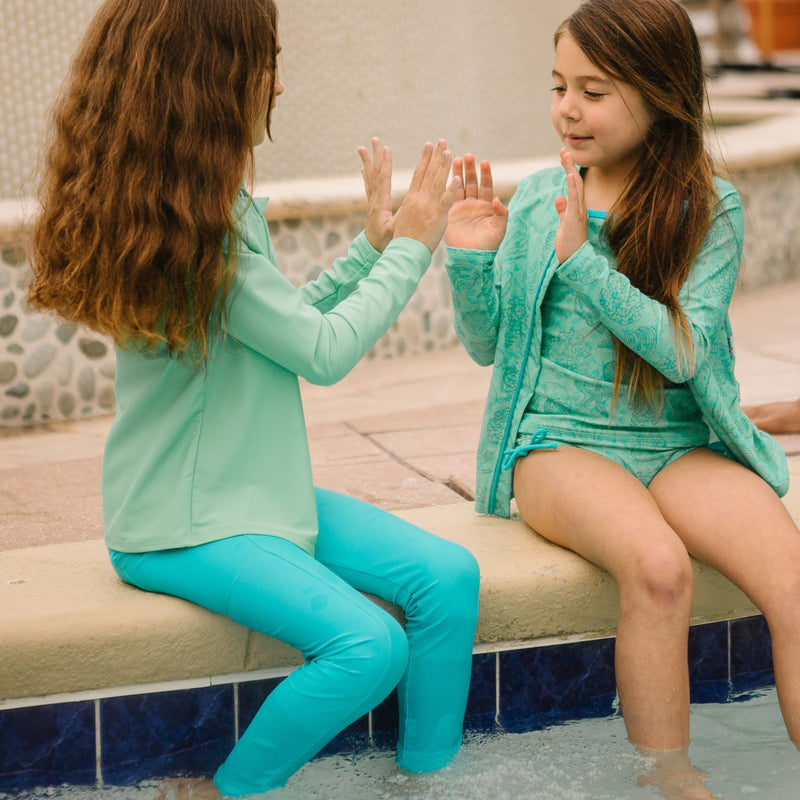 "Kid's Long Sleeve Rash Guard Swim Shirt | ""Light Jade""-SwimZip UPF 50+ Sun Protective Swimwear & UV Zipper Rash Guards-pos15"