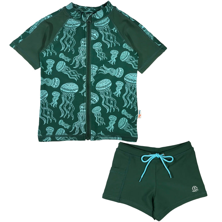 Kid's Short Sleeve Rash + Euro Shorties Rash Guard Set - Jellyfish - SwimZip Sun Protection Swimwear
