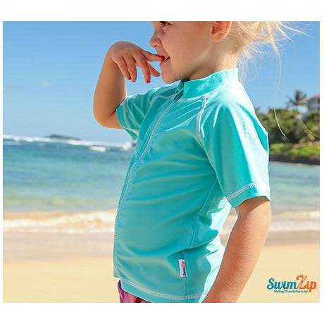 Girl Zip Rash Guard Short Sleeve UPF 50+ Sun Protective - Turquoise Sweet Splasher - SwimZip Sun Protection Swimwear