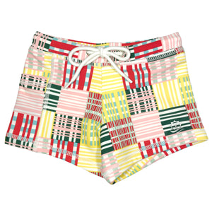 "Kid's Euro Swim Shorties - ""Madras Mania"" - SwimZip Sun Protection Swimwear"