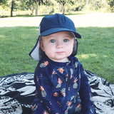Kid's Flap Hat - Navy-SwimZip UPF 50+ Sun Protective Swimwear & UV Zipper Rash Guards-pos2
