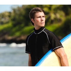 Mens Short Sleeve Black Rash Guard