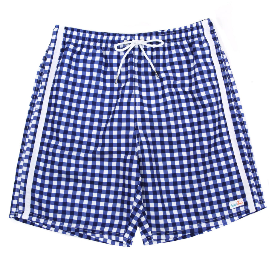 "Men's 8""-8.5"" Swim Trunks - Multiple Colors-Small-Navy Gingham-SwimZip UPF 50+ Sun Protective Swimwear & UV Zipper Rash Guards-pos4"