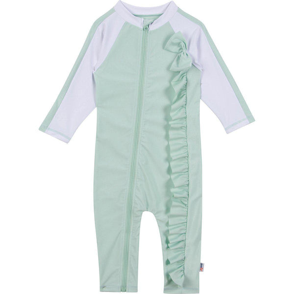 "Girl Long Sleeve Romper with UPF 50+ UV Sun Protection - ""Mint Chip"""