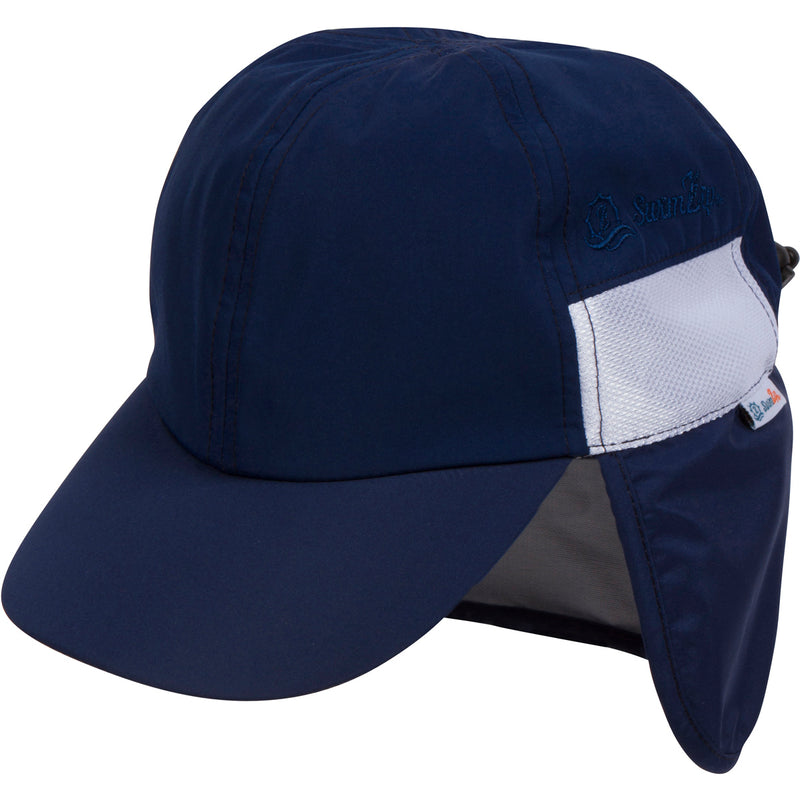 Kid's Flap Hat - Navy-0-6 Month-Navy-SwimZip UPF 50+ Sun Protective Swimwear & UV Zipper Rash Guards-pos1