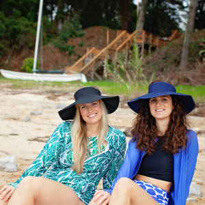 Women's Wide Brim Sun Visor - Navy - SwimZip Sun Protection Swimwear