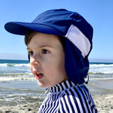 Kid's Flap Hat - Navy-SwimZip UPF 50+ Sun Protective Swimwear & UV Zipper Rash Guards-pos4