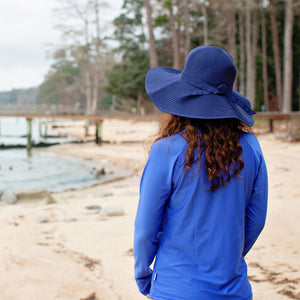 Women's Wide Brim Sun Hat - Navy - SwimZip Sun Protection Swimwear