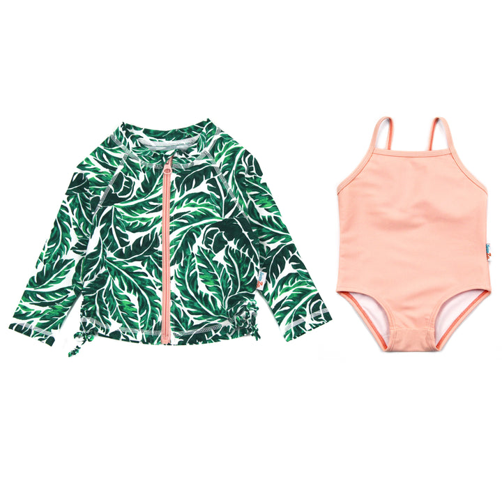 "Girl One-Piece Swimsuit and Long Sleeve Rash Guard Set UPF 50+ | ""Palm Leaf"""