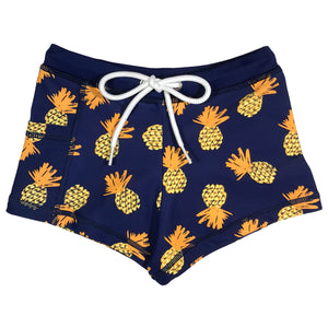 "Kid's Euro Swim Shorties - ""Pineapple Dreams""-6-12 Month-Pineapple-SwimZip UPF 50+ Sun Protective Swimwear & UV Zipper Rash Guards-pos1"