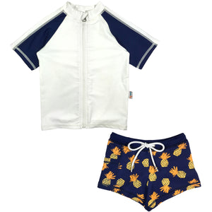 Kid's Short Sleeve Rash + Euro Shorties Rash Guard Set - Pineapple Dreams - SwimZip Sun Protection Swimwear