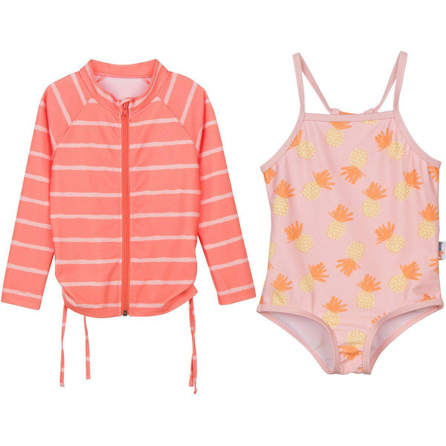 "Little Girl One-Piece Swimsuit and Long Sleeve Rash Guard Set (2 Piece) - ""Sweet Pineapple""-0-3 Month-Orange-SwimZip UPF 50+ Sun Protective Swimwear & UV Zipper Rash Guards-pos1"