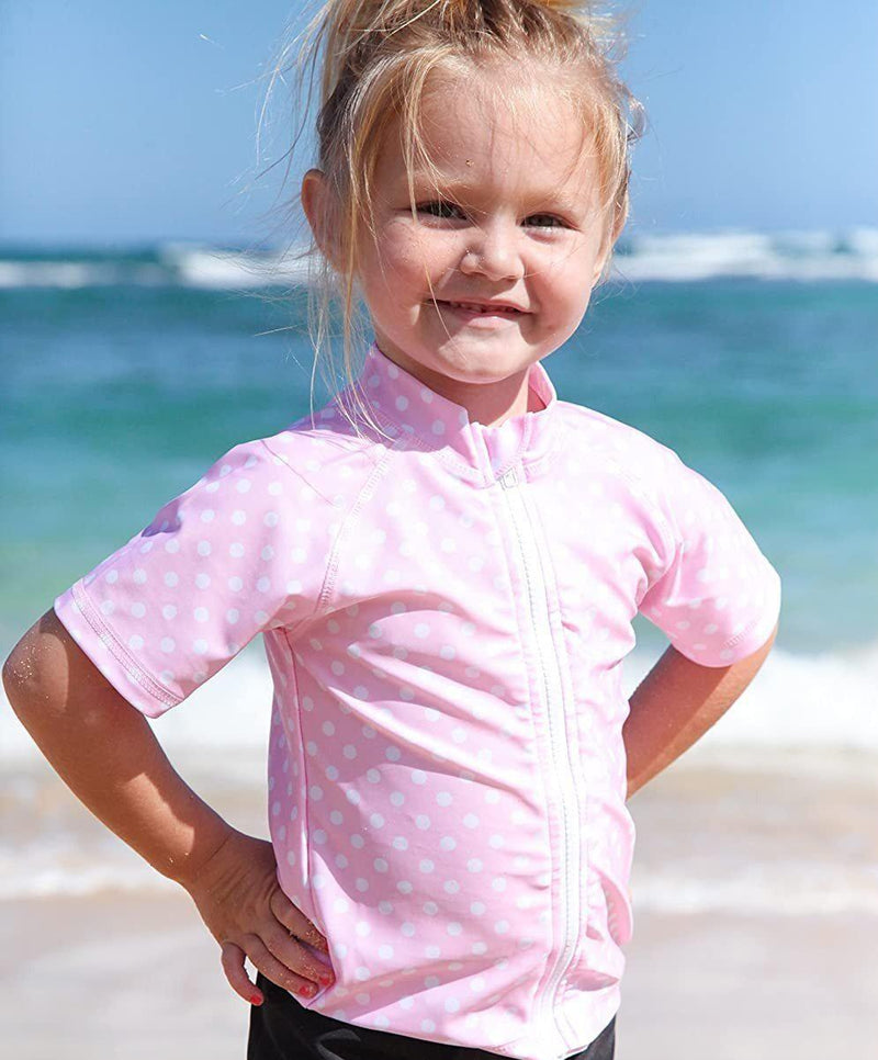 Girl Zipper Rash Guard Swim Shirt UPF 50+ UV SPF Pink Polka Dot Short Sleeve-SwimZip UPF 50+ Sun Protective Swimwear & UV Zipper Rash Guards-pos2