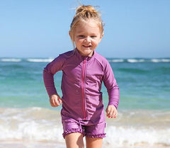 Caribbean Splash - Girls Purple UV Protective Swim Shorts