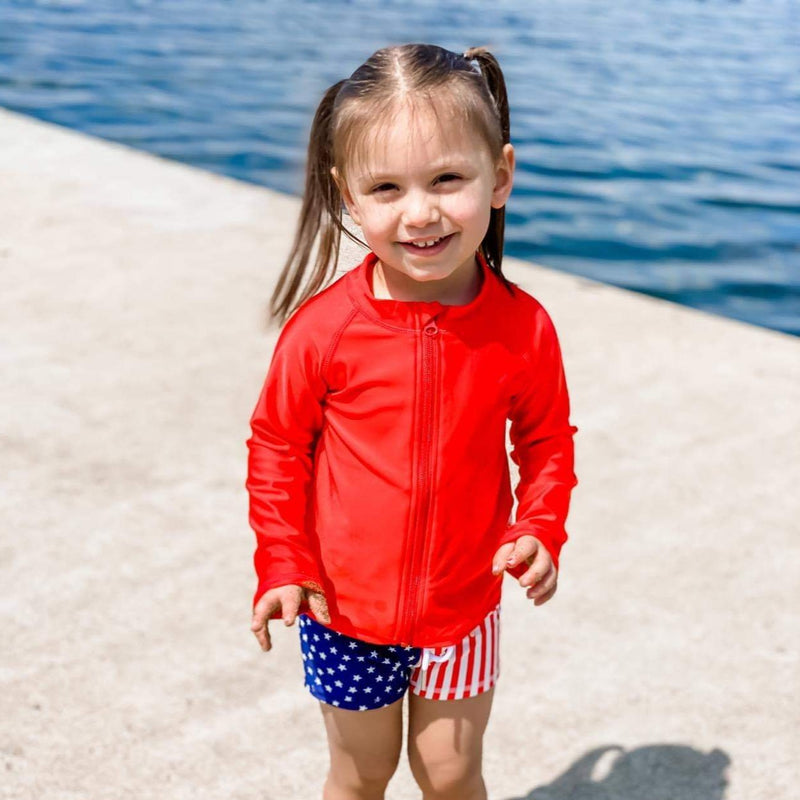 Kid's Rash Guard Long Sleeve Zipper Swim Shirt - Red-SwimZip UPF 50+ Sun Protective Swimwear & UV Zipper Rash Guards-pos2