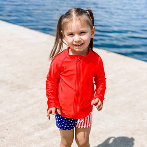 Kid's Long Sleeve Rash Guard Swim Shirt - Multiple Colors - SwimZip Sun Protection Swimwear