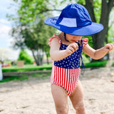 "Kid's Wide Brim Sun Hat ""Fun Sun Day Play Hat"" - Navy-SwimZip UPF 50+ Sun Protective Swimwear & UV Zipper Rash Guards-pos2"