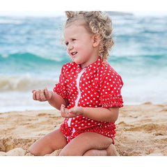 red polka dot swimsuit